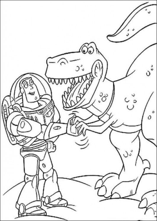 buzz lightyear with rex toy story coloring pages