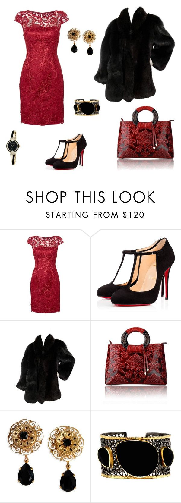 """""""Untitled #2"""" by pinkprincessemily ❤ liked on Polyvore featuring Adrianna Papell, Christian Louboutin, Dolce&Gabbana, Mela Artisans and Anne Klein"""
