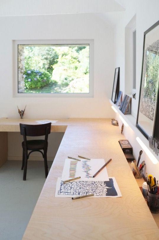 L shaped desk, custom built.