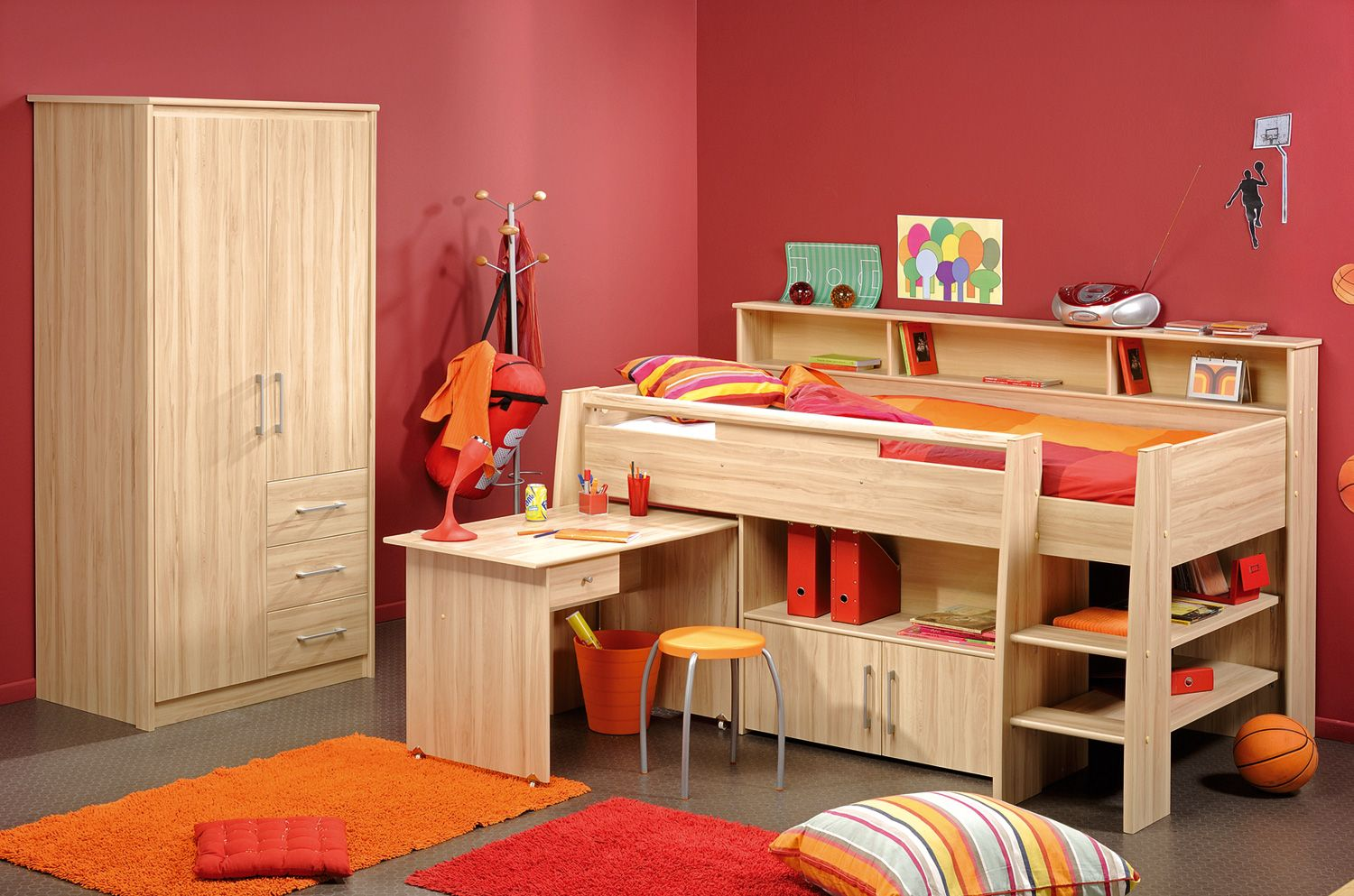 Loft bed with desk and pull out bed  Kurt Cabin Bed  For the Home  Pinterest  Cabin Kids cabin beds