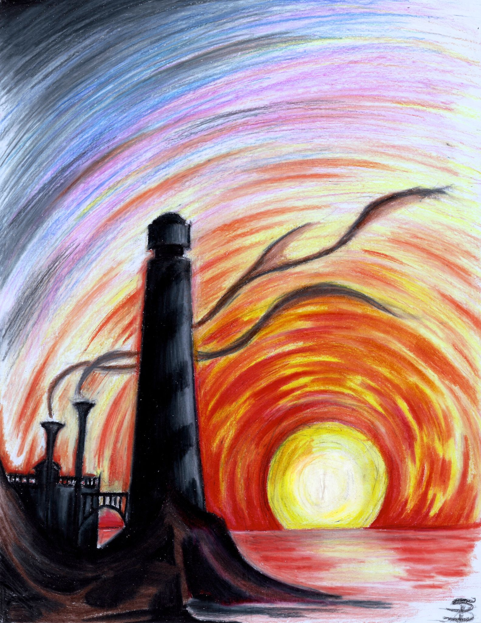 Lighthouse At Sunset Colored Pencil Darkitecture Painting Art