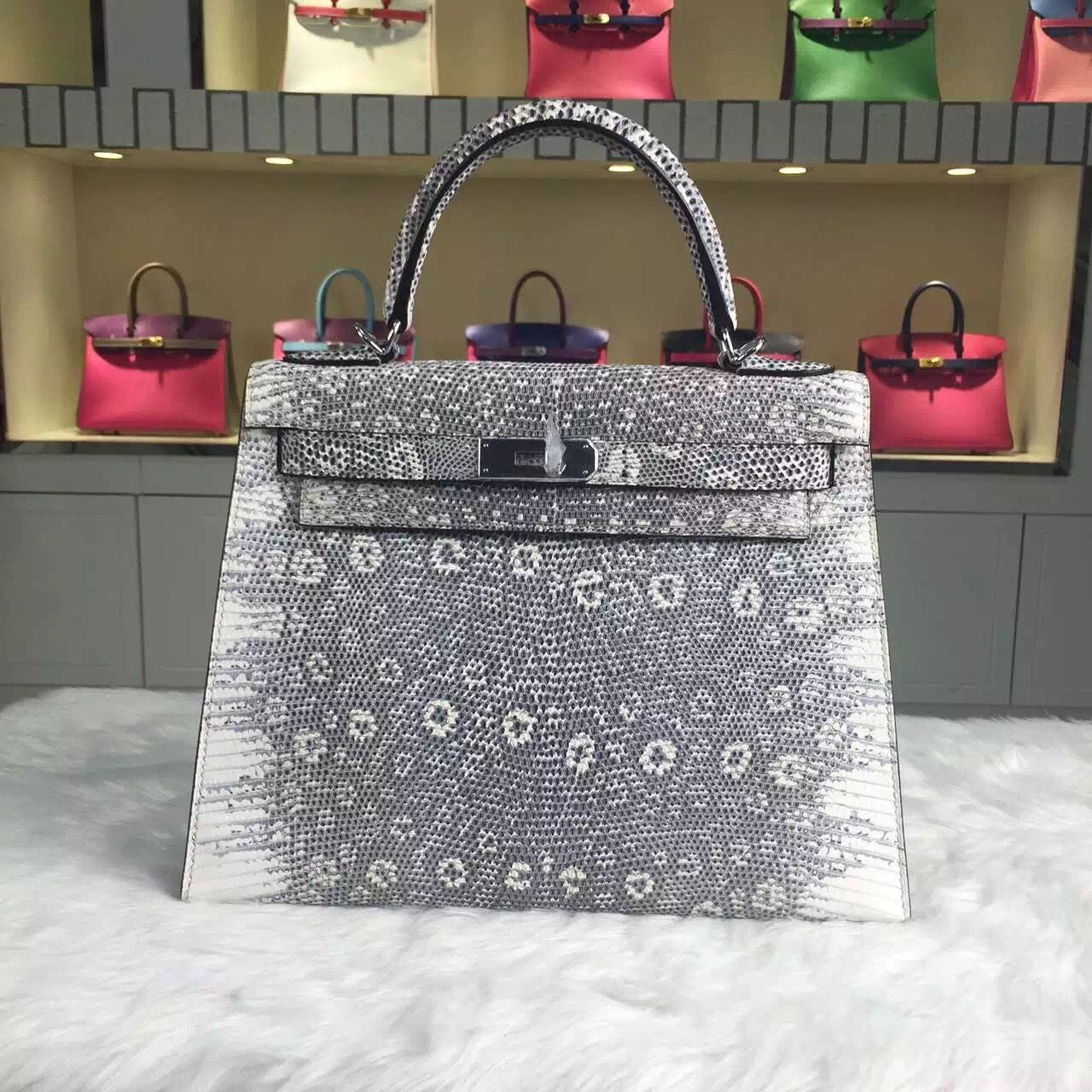 cdac21b60 Brand: Hermes; Style: Kelly Bag28CM ; Material: Lizard Skin Leather;Color:  Original Color; Hardware: gold/silver; Accessories: Padlock and keys, dust  bag.