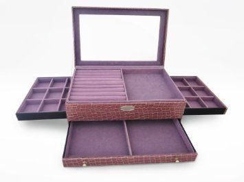Amazon.com: The Total Jewel Box   Anti Tarnish Fabric   High Quality Jewelry  Boxes For Gold Silver U0026 Diamond   3 Drawers U0026 Open View Lid For Storage ...