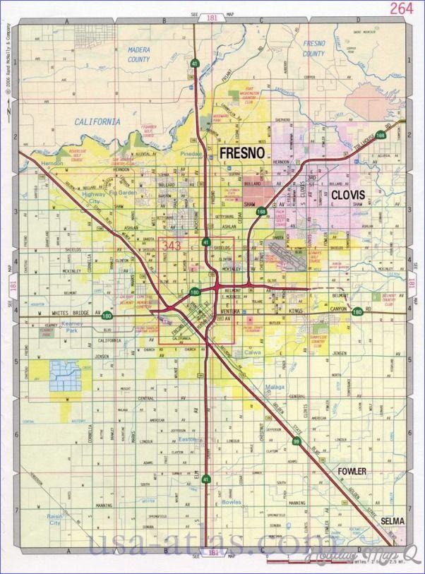 Map Of California Fresno.Cool Fresno Map Holidaymapq Fresno California California Map
