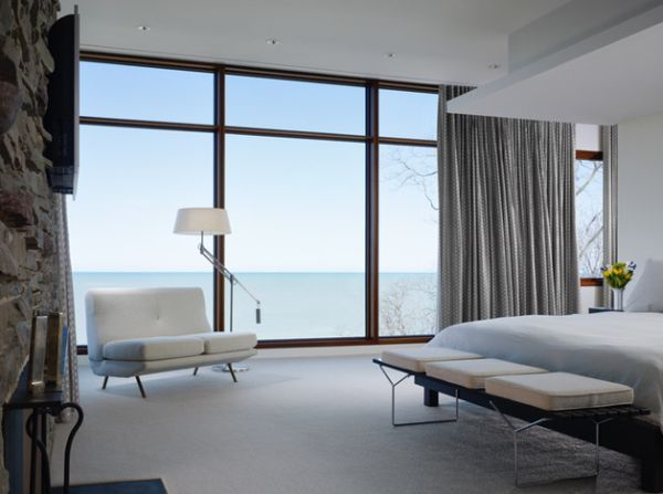 bertoia bench at the foot of the bed perfect for the contemporary