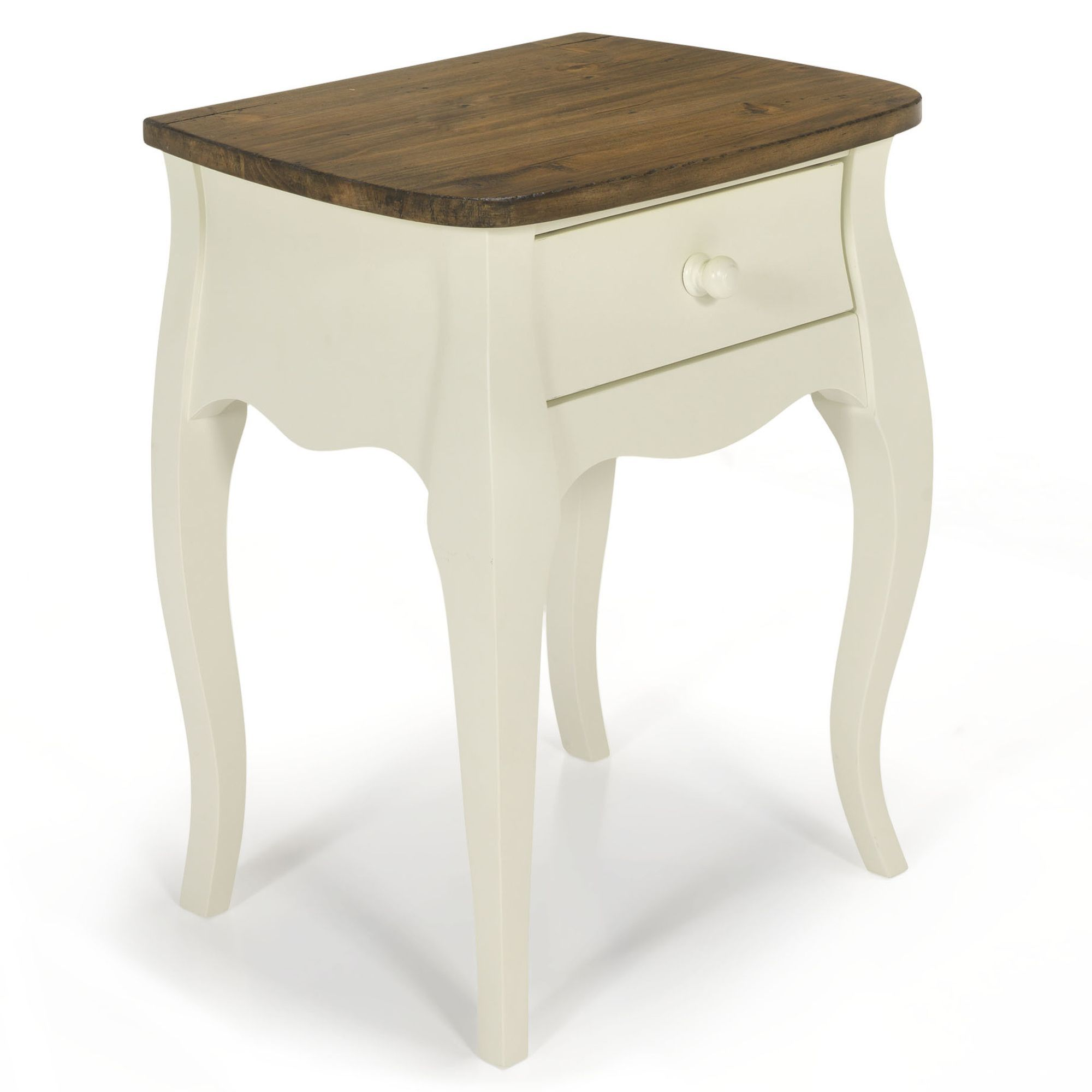 Chevet Romantique Blanc 1 Tiroir Blanc Avec Top Naturel Evelyn Les Tables De Chevet Chambre Decoration D Meuble Table De Chevet Blanche Table De Chevet