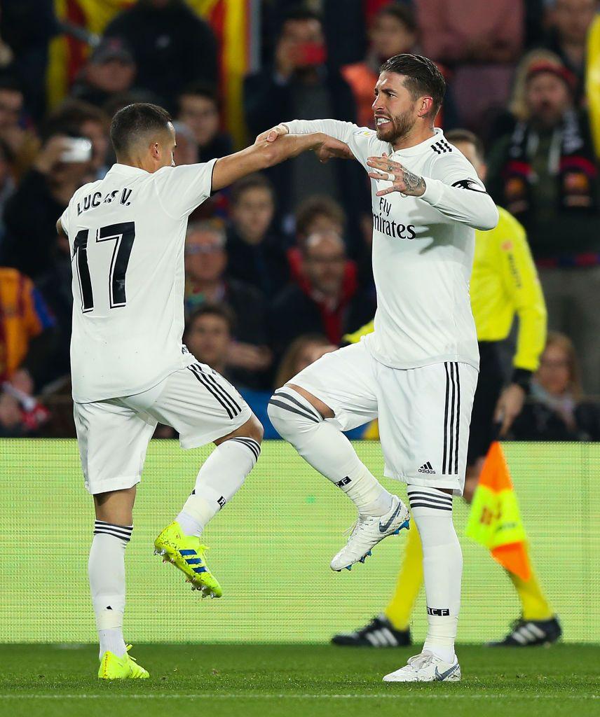 Lucas Vazquez Of Real Madrid Cf Celebrates With His Team Mate Sergio In 2021 Real Madrid Lucas Vazquez Sergio Ramos