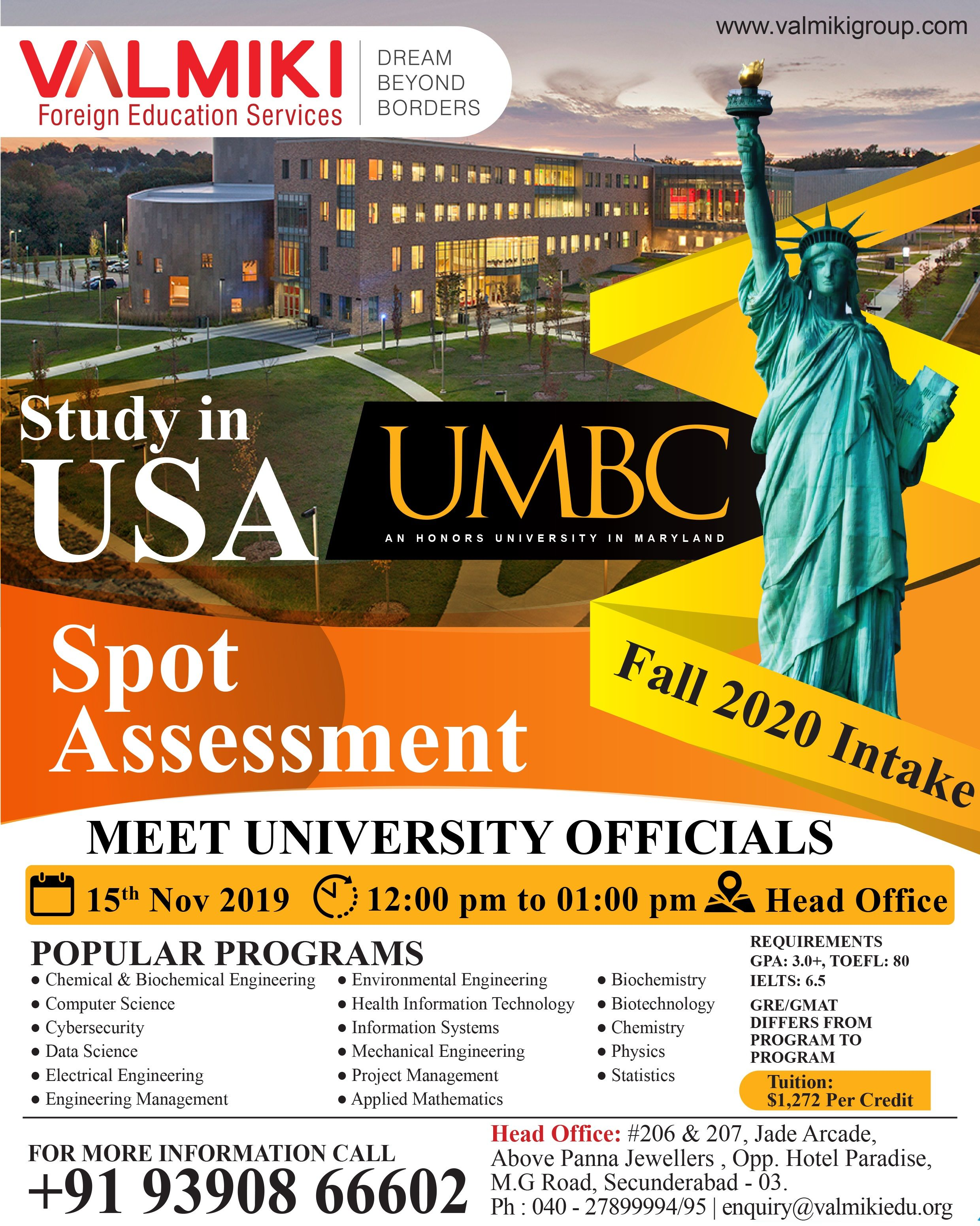 Study In Usa At Umbc University Meet University Official Valmiki Head Office And Get Exp Overseas Education Educational Consultant Environmental Engineering