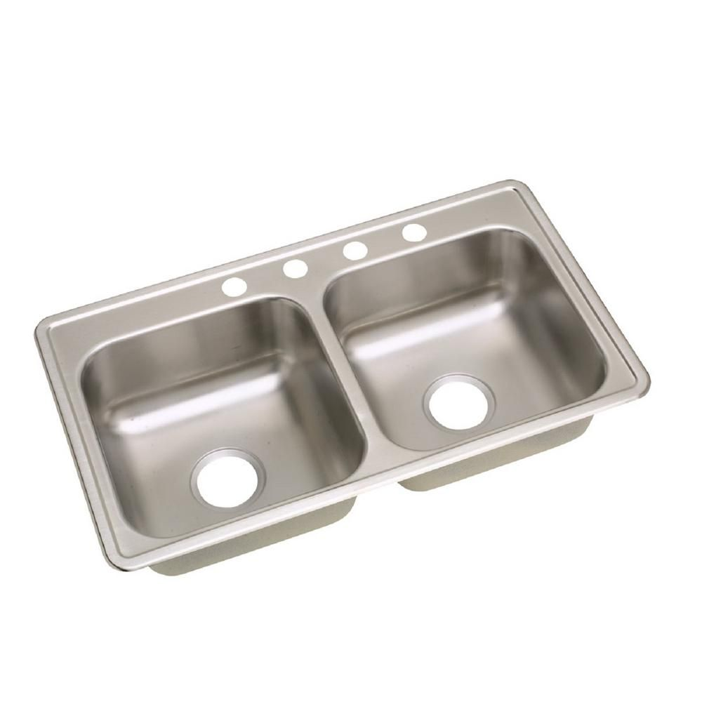 Elkay Dayton Collection D233194 36 Inch Drop In Double Bowl Stainless Steel  Sink With 6