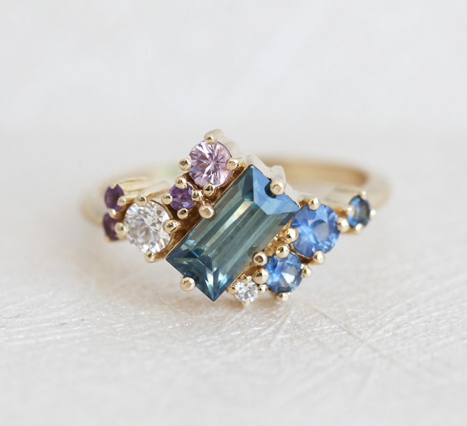 Baguette Sapphire Cluster Ring Unique Teal Sapphire Etsy