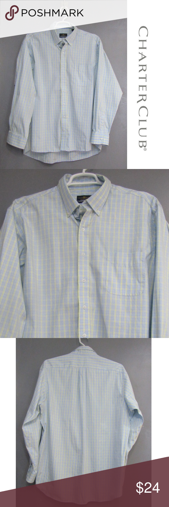 Club Room Mens Shirt Light Long Sleeve Button Down