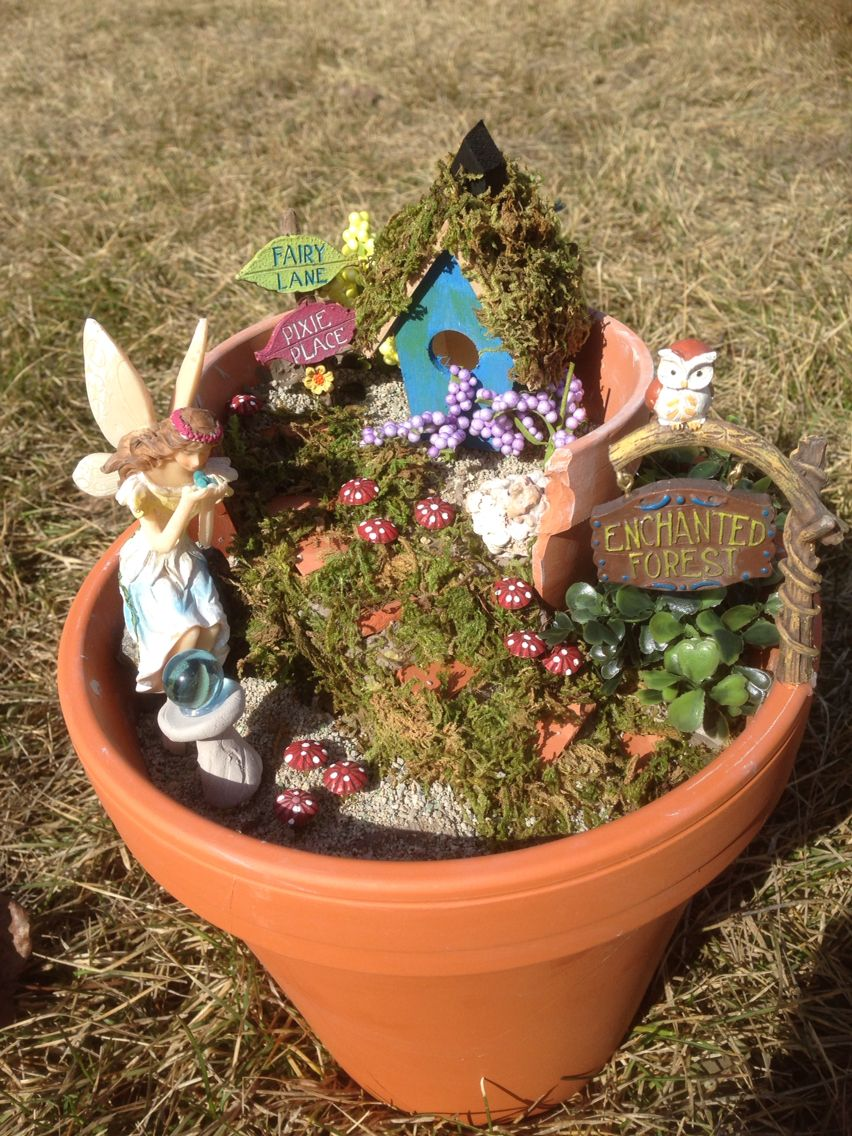 My fairy garden - mostly made from dollar store items. Mushrooms are ...