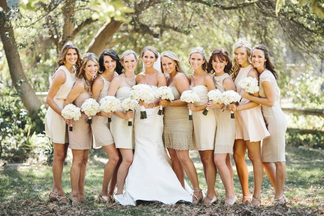 Bride in white ivory and her bridesmaids in blush and taupe dresses.