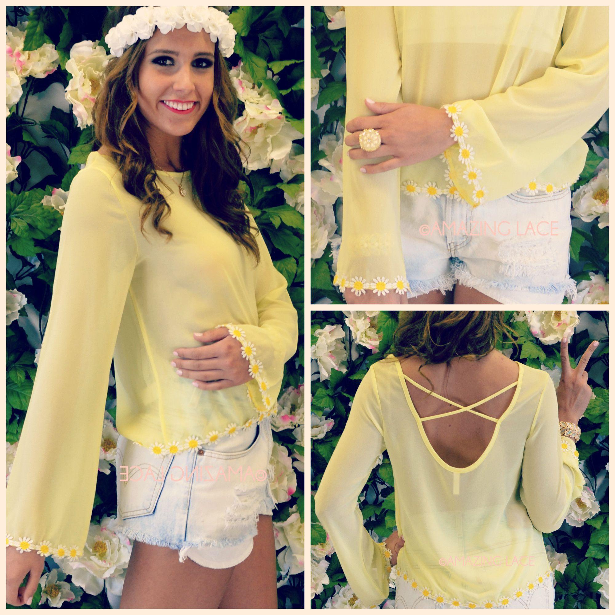Paradise Bay Yellow Daisy Trim Bell Sleeve Blouse