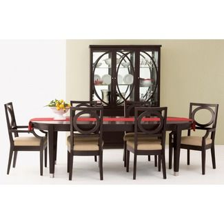 Sitcom Furniture Deco 7 Piece Oval Dining Table Set In Java Drool