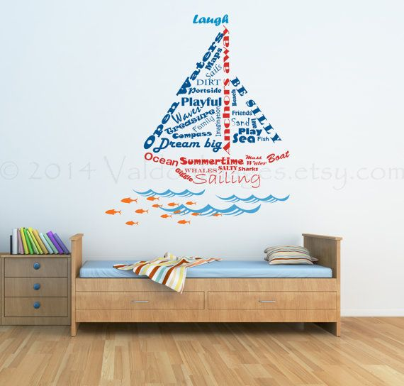 Lovely Nautical Wall Stickers Part - 12: Sailboat Shape Nautical Wall Decal Word Cloud By ValdonImages