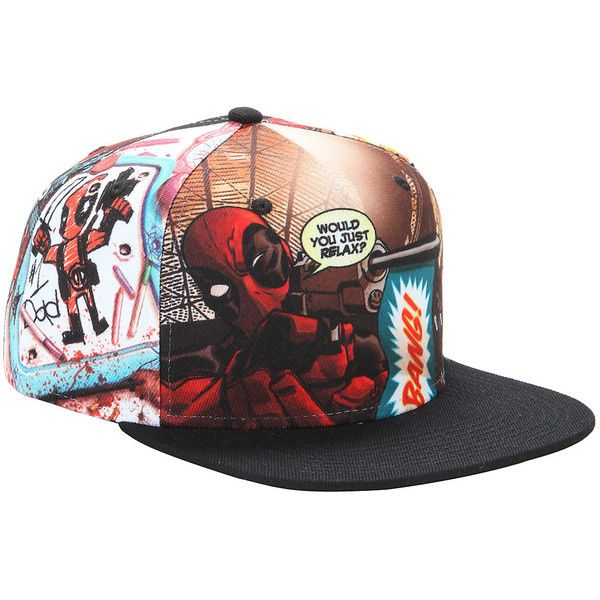 Marvel Deadpool Panels Sublimation Snapback Hat ( 16) ❤ liked on Polyvore  featuring accessories 5c220e74af8