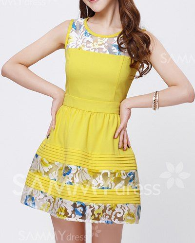 $15.46 Lace Splicing Scoop Neck Sweet Style Sleeveless Color Block Slimming Dress For Women
