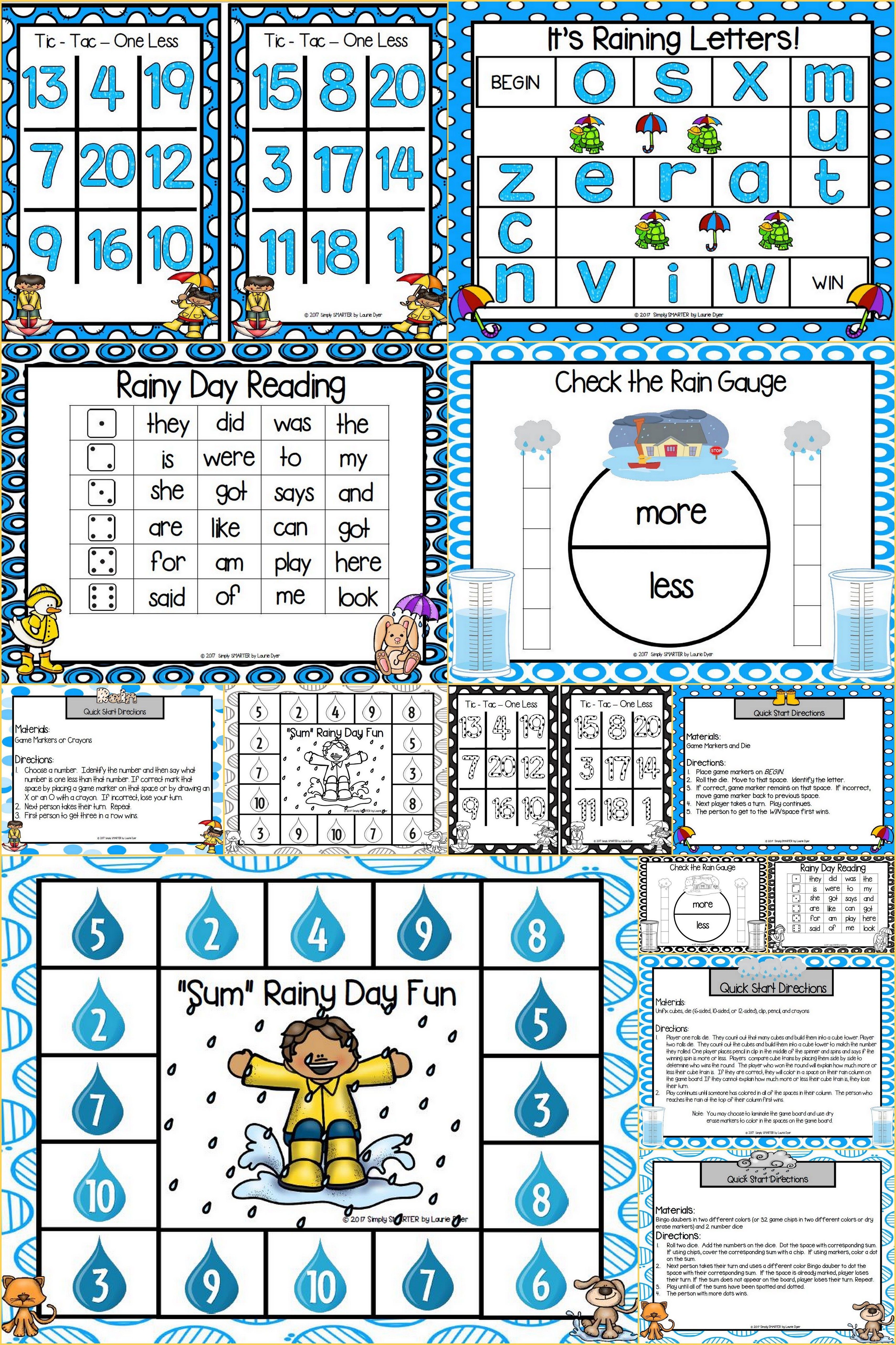 NO PREP Spring Showers Themed Math and Literacy Games Bundle ...