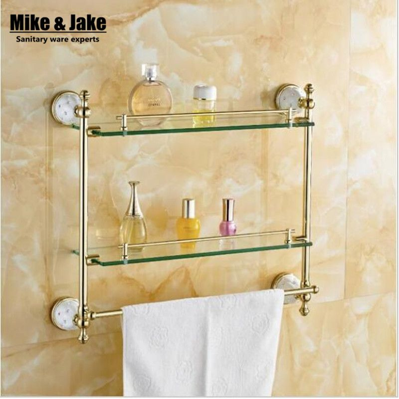 Bathroom Accessories Solid Brass Golden Finish With Tempered Glass