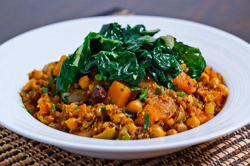 Moroccan Butternut Squash And Chickpea Tagine With Quinoa Recipe Tagine Recipes Vegetarian Recipes Tagine