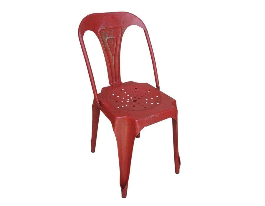 Chaise rouge industrielle en métal JULIA 8
