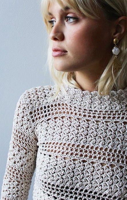 au crochet un pull plein de charme - La Grenouille Tricote