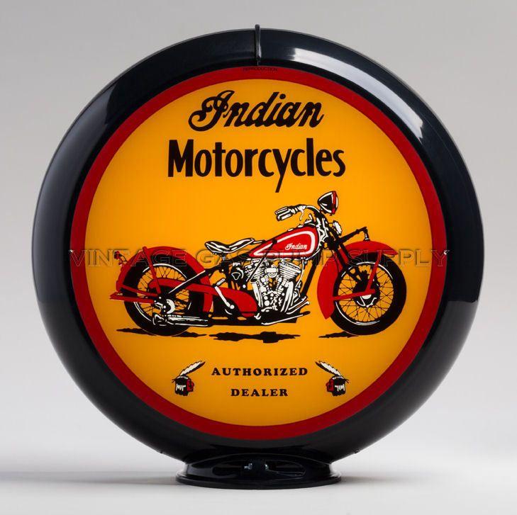 "Red Indian 13.5/"" Gas Pump Globe w// Black Plastic Body G419"