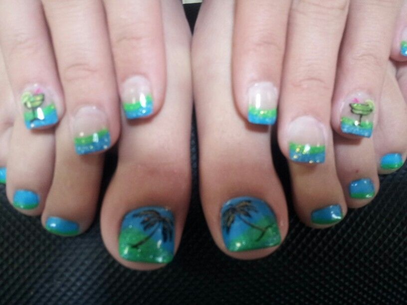 2 Color acrylic french nails with matching toes ready for the beach ...