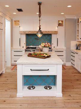 Dog Cat Feeding Station Built Into Kitchen Island Kitchen Design Interior Decorating Blue Tile White K Eclectic Kitchen Home Kitchens Mediterranean Kitchen