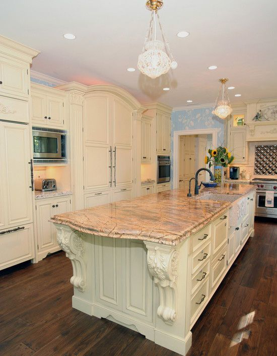 kitchen design with corbels and little crystal chandeliers