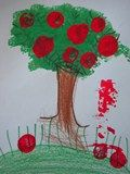 PreK idea:  draw the tree and ground.  Talk about horizon line and space.  Print leaves and apples with tempera.