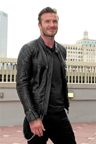Check out David Beckham in a leather jacket. Hot! See more sexy men on 66fdb23438