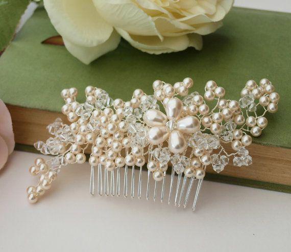 Flower Wedding Hair Pins Bridesmaid Crystal Diamante Pearls Bridal Clips Gut