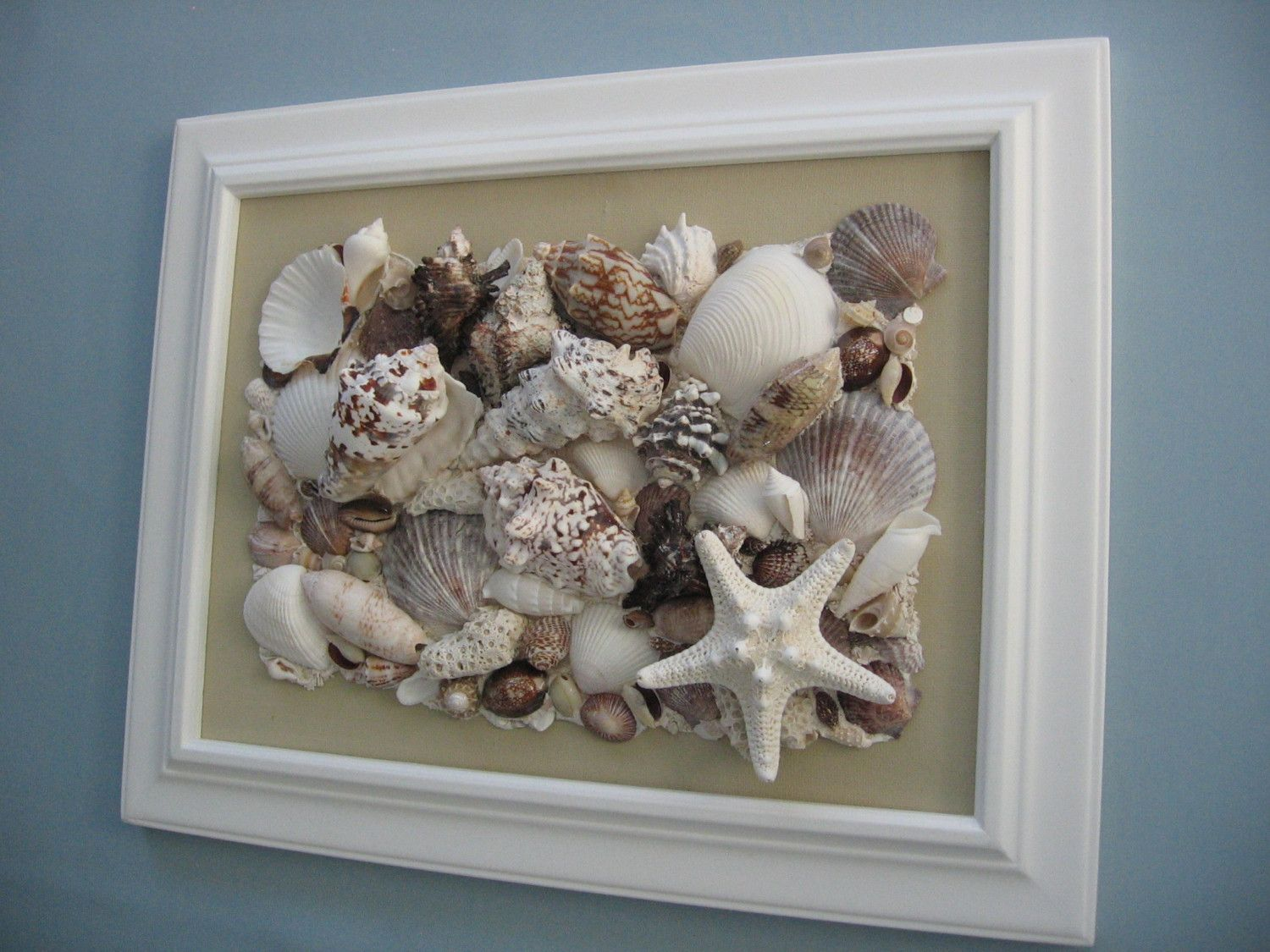 RESERVED FOR NATALIE - Original Seashell Collage - Tan Canvas in ...