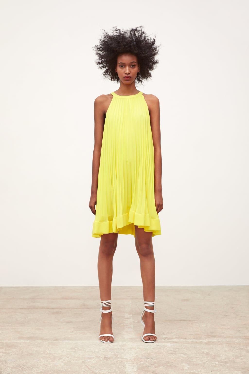 7da5f9ed9f0d Pleated dress in 2019   Wear it   Yellow bridesmaid dresses, Dresses ...