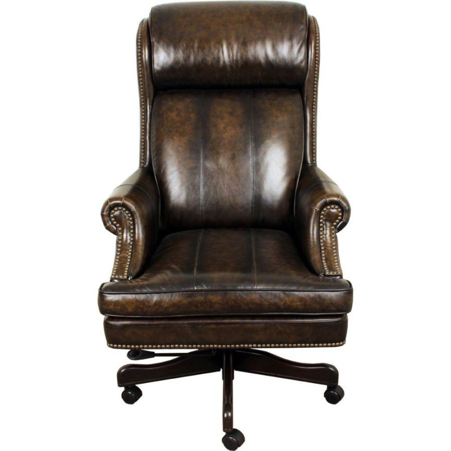 High Back Adjustable Swivel Executive Leather Chair Leather Chair Leather Lounge Chair Brown Office Chair