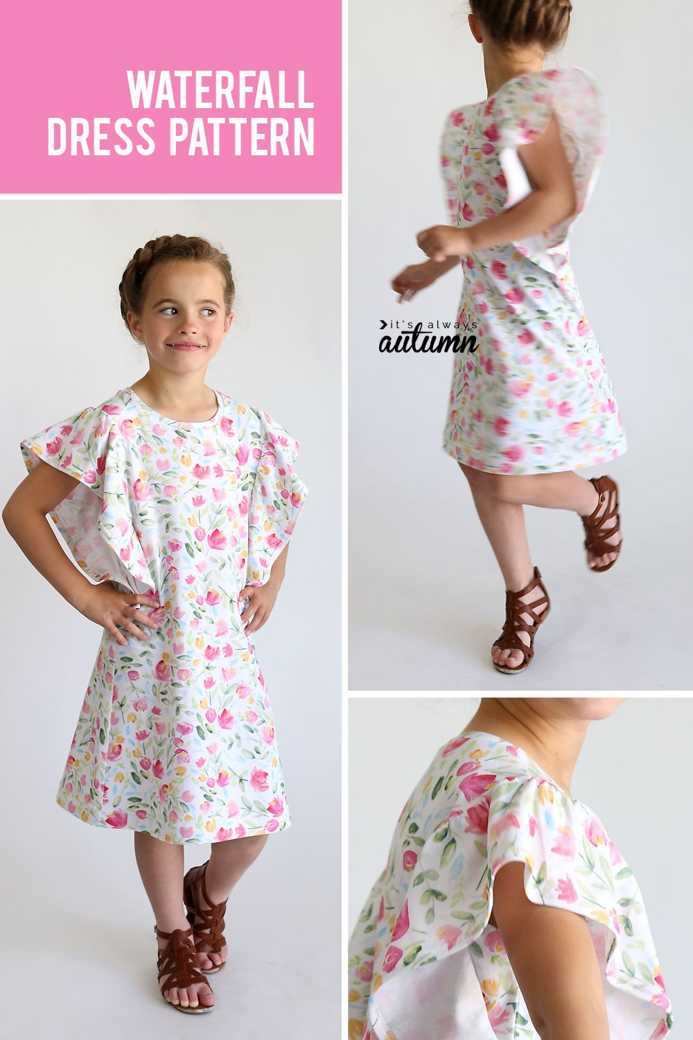 The waterfall dress pattern for girls {easy sewing tutorial | Things ...