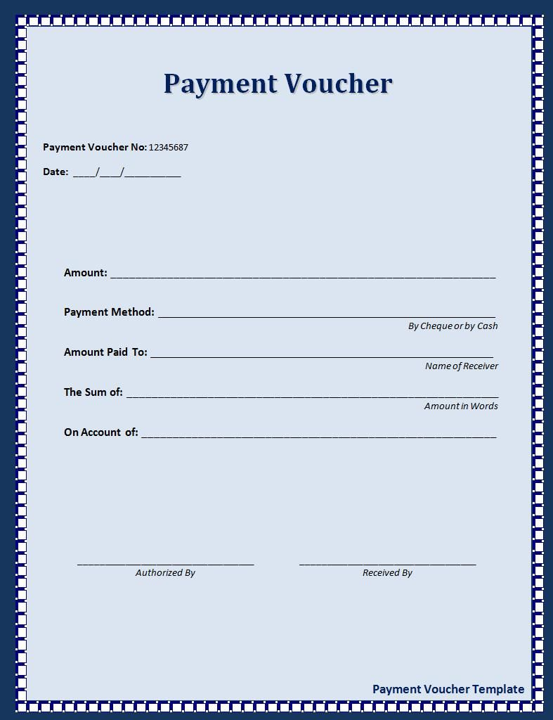 Payment Voucher Template  Money Receipt Word Format