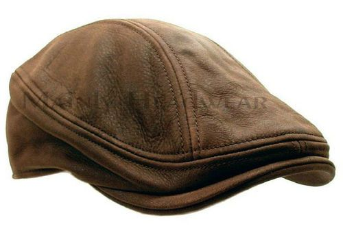 4a91605eff STETSON Leather IVY Cap Mens Gatsby Newsboy Hat Golf Brown Driving ...