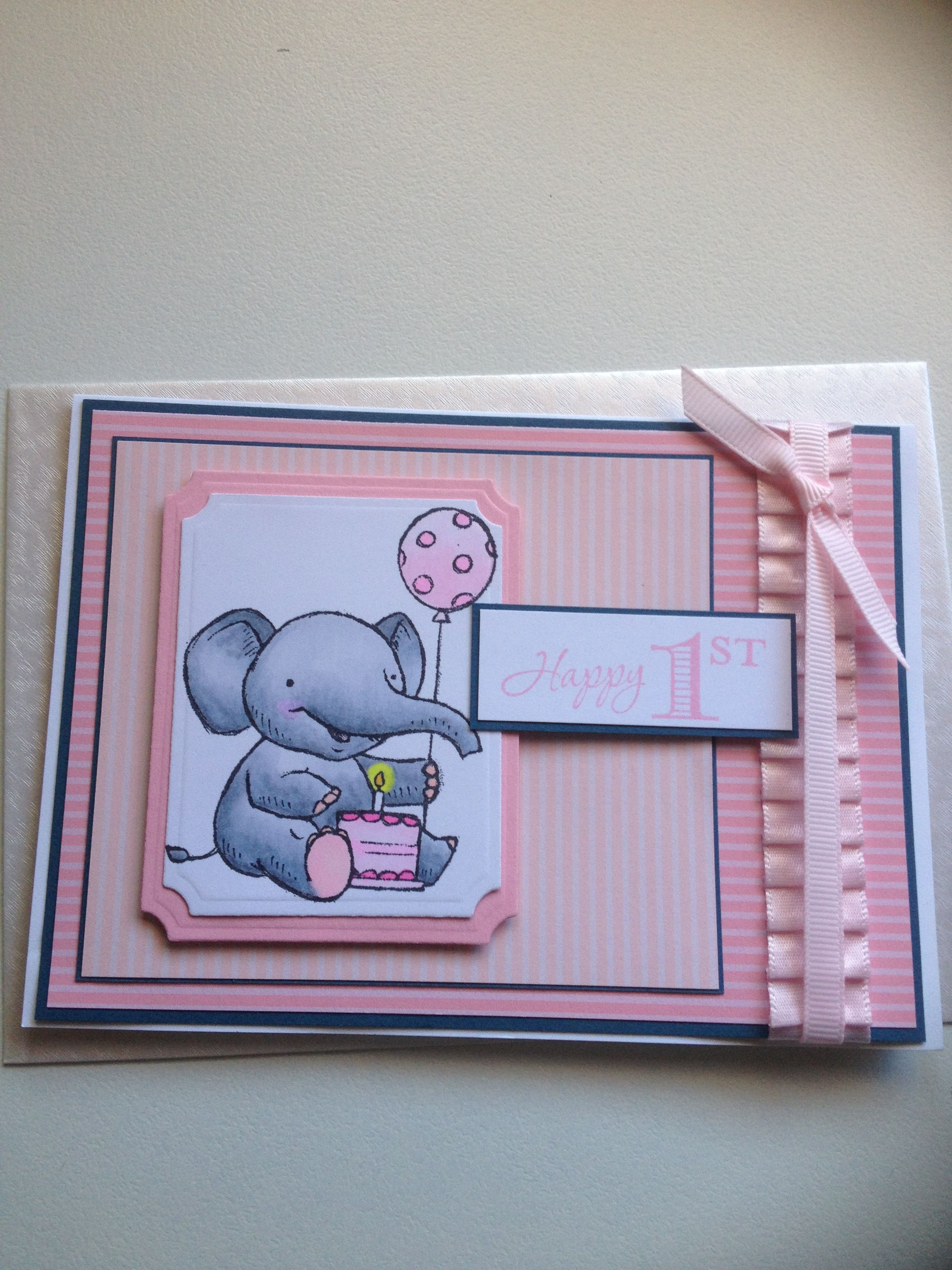 Such a cute little girls 1st Birthday card. Stamps from