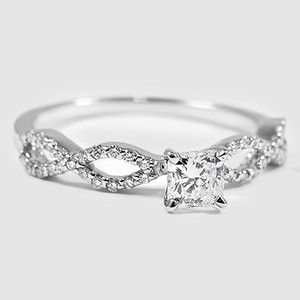 18K White Gold Infinity Diamond Ring - Set with a 0.40 Carat, Radiant, Very Good Cut, H Color, VVS2 Clarity Lab Diamond #BrilliantEarth