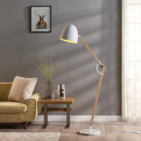 Teamson versanora bastone wooden floor lamp with shade