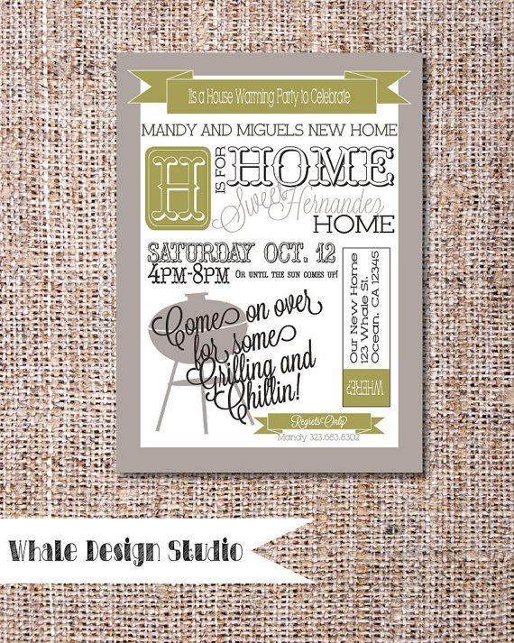 House Warming Invitation BBQ Grillin Theme Custom house warming