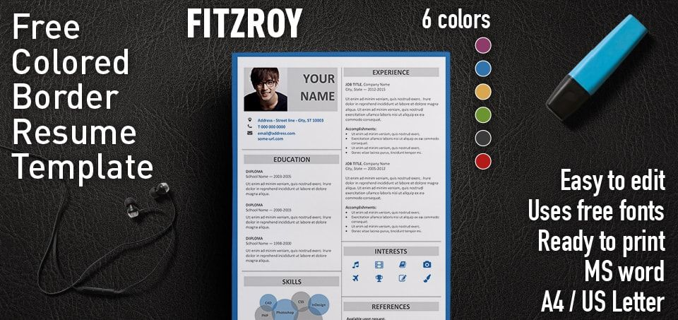 Fitzroy is a 2-column free resume template with colored border Very