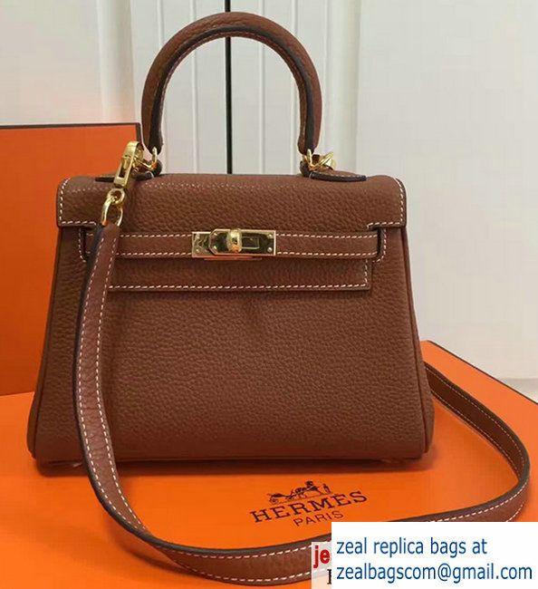 37797f7b59c Hermes Togo Leather Kelly 20cm Mini Bag Brown