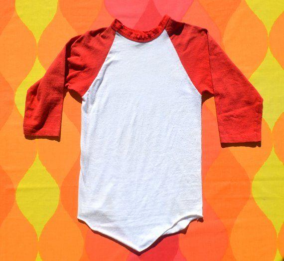 7f56d5c00 vintage 70s t-shirt BASEBALL raglan ringer plain tee Small XS red russell