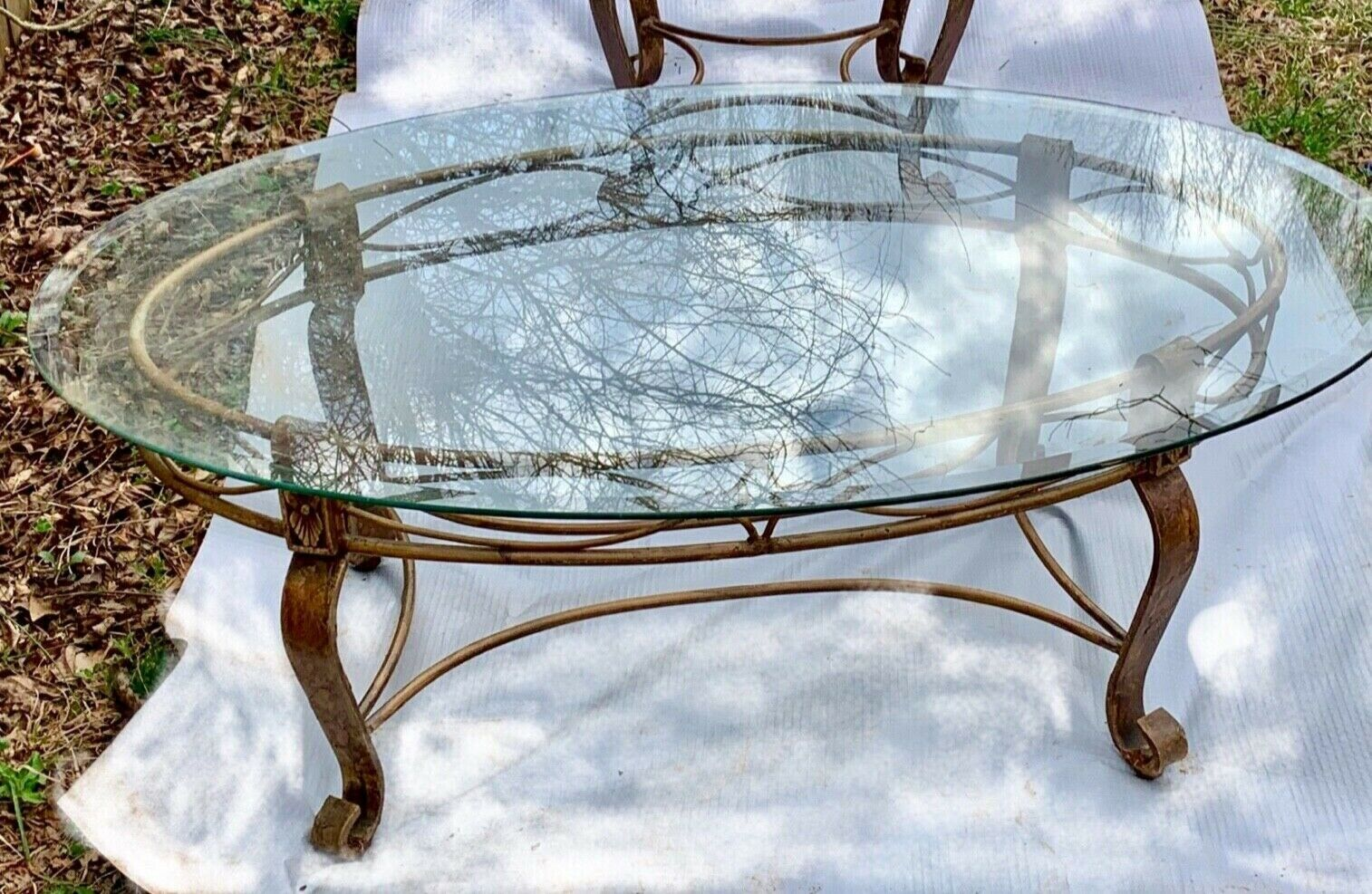 - Hand Forged Gilt And Wrought Iron Oval Glass Coffee Table. Oval