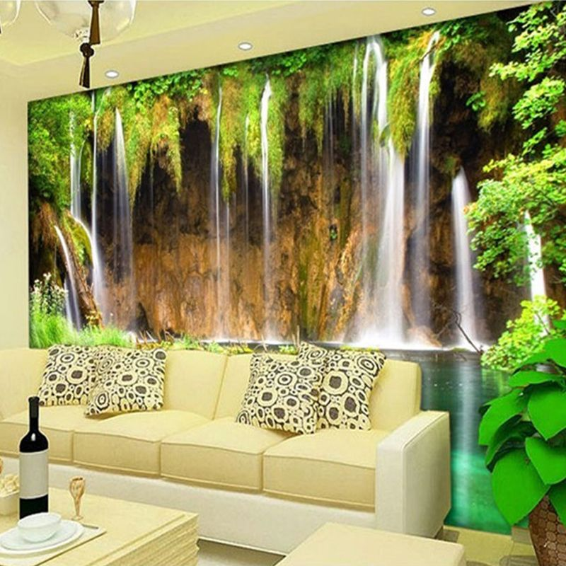 Chinese Style Waterfall Nature Landscape Photo Mural Wallpaper ...