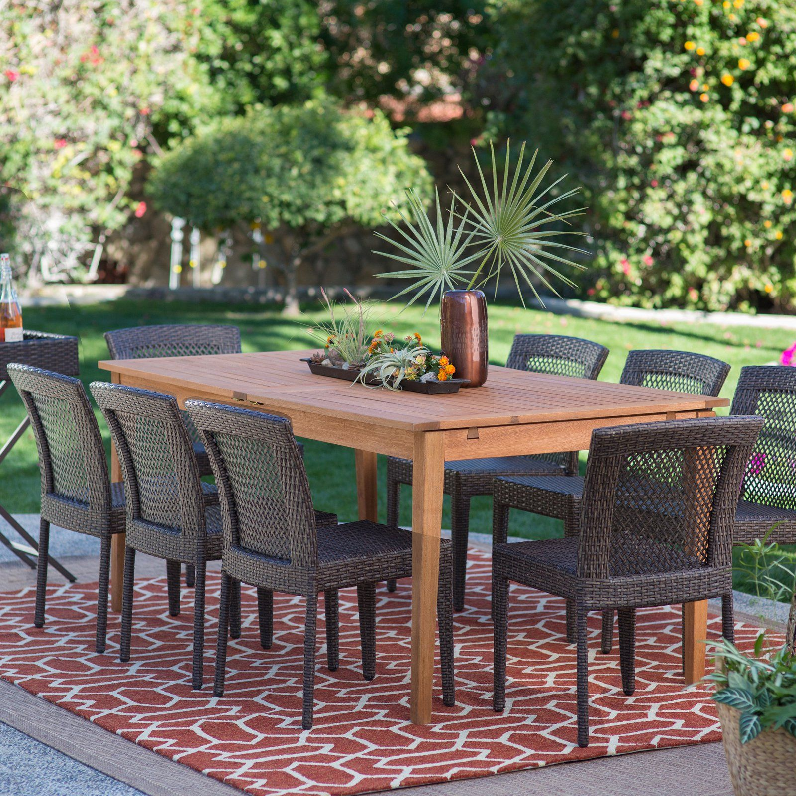 Belham Living Brisbane Outdoor Wood Extension Patio Dining Set ...